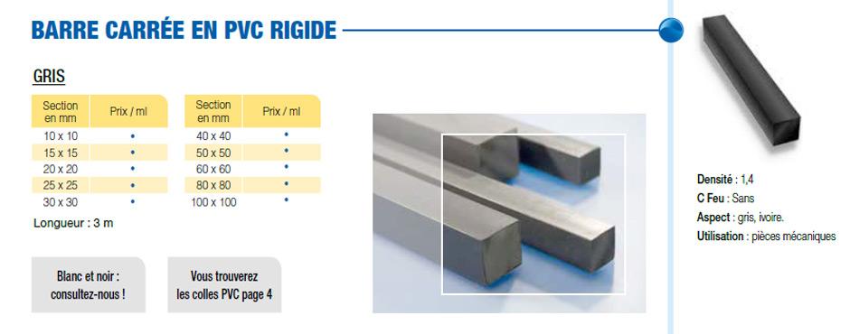 Barre carrée PVC rigide
