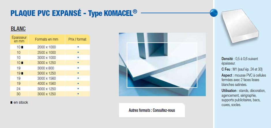 Plaque PVC expansé type Komacel®