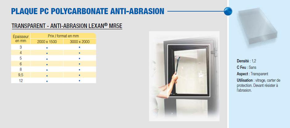 Plaque PC polycarbonate anti-abrasion