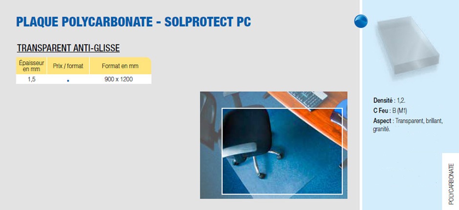 Plaque polycarbonate solprotect