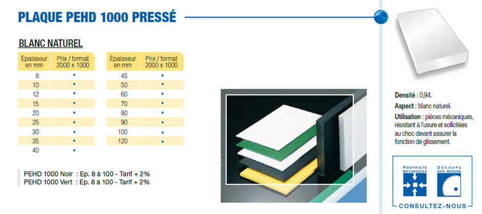 Plaque polyéthylène - PEHD 1000 pressé