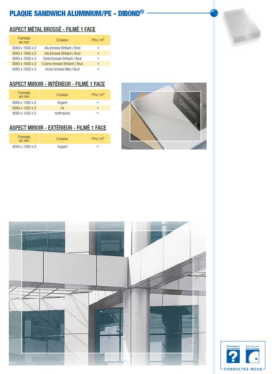Plaque sandwich aluminium/PE-Dibond métal et miroir