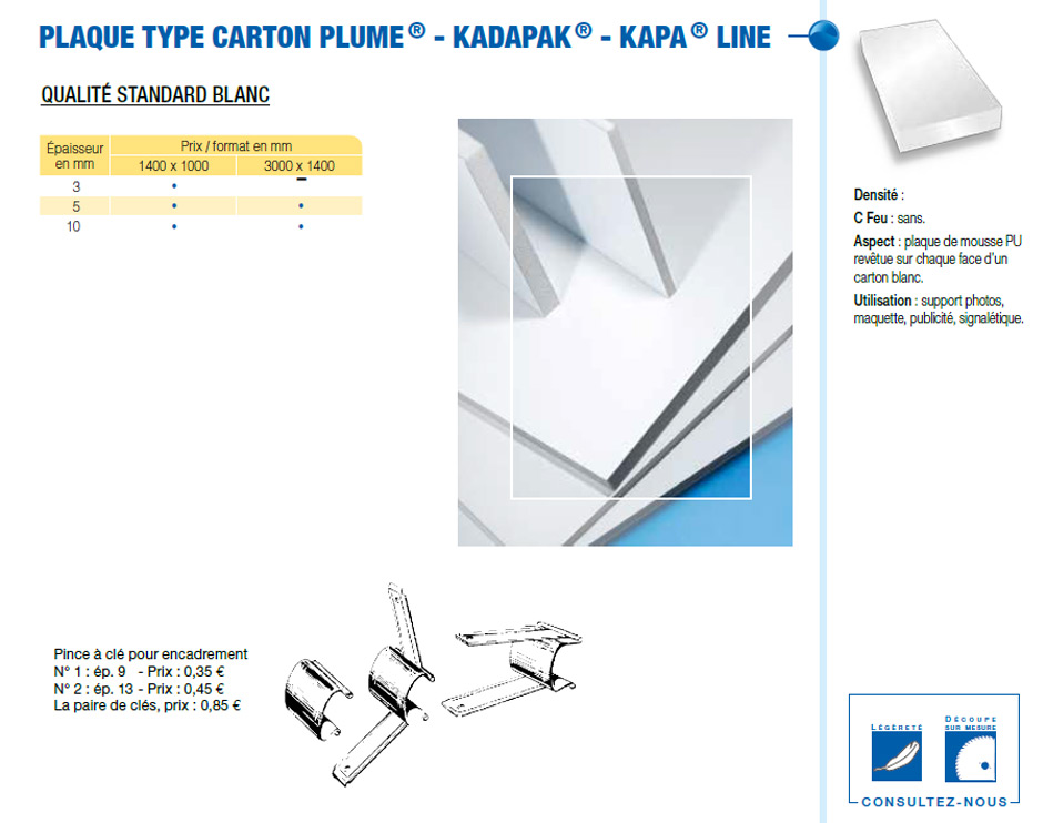 Plaque type Carton plume - KADAPAK® - KAPA® Line