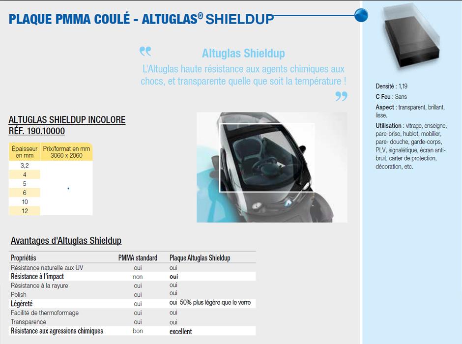 Plaque en PMMA coulé Shieldup altuglas