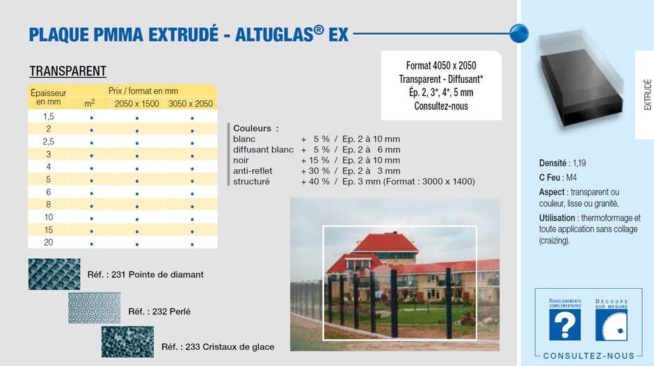 Plaque PMMA EX transparent - Altuglas