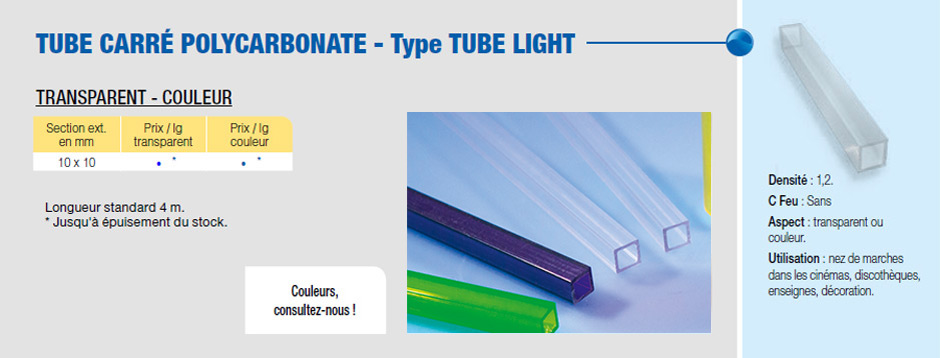Tube carré polycarbonate