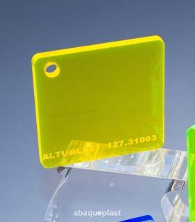 Altuglas® 127.31003 - Plaque PMMA transparent jaune fluo - Altuglas® CN - 12731003 - 127-31003...