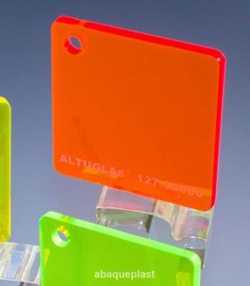 Altuglas® 127.32000 - Plaque PMMA transparent rouge fluo - Altuglas® CN - 12732000 - 127-32000...