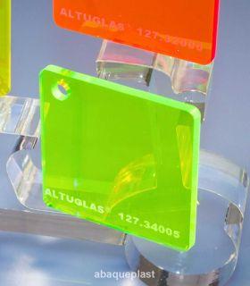 Altuglas® 127.34005 - Plaque PMMA transparent vert fluo - Altuglas® CN - 12734005 - 127-34005...