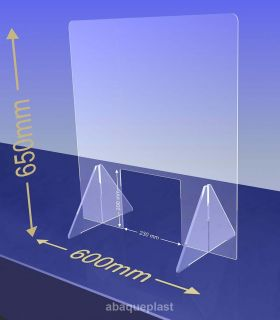 ÉCRAN DE PROTECTION plexiglas transparent – HYGIAPHONE Ep.4 mm contre les virus. 1000x650 mm et passe document de 230x200 mm.