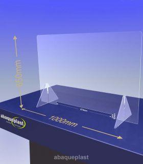 ÉCRAN DE PROTECTION plexiglas transparent – HYGIAPHONE Ep.4 mm contre les virus. 1000x650 mm et passe document de 574x30 mm.