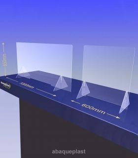 ÉCRAN DE PROTECTION plexiglas transparent – HYGIAPHONE Ep.4 mm contre les virus. 1000x650 mm et 600x650 mm.