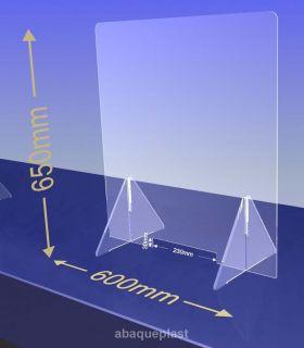 ÉCRAN DE PROTECTION plexiglas transparent – HYGIAPHONE Ep.4 mm contre les virus. 1000x650 mm et passe document de 230x30 mm.