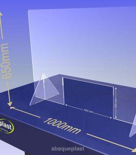 ÉCRAN DE PROTECTION plexiglas transparent – HYGIAPHONE Ep.4 mm contre les virus. 1000x650 mm et passe document de 400x200 mm.