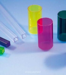 Tube carré polycarbonate couleur et transparent de 4 mètres.