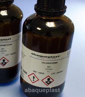 CHLOROFORME rectifié - Colle à solvant de 1 litre. Permet un collage par capillarité du PMMA, polystyrène choc.