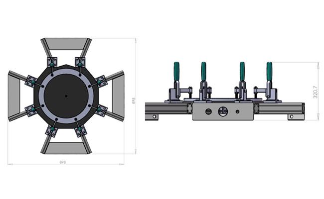 Schéma machine unité de soufflage de demi-sphère
