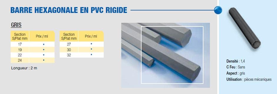 Barre hexagonale PVC rigide