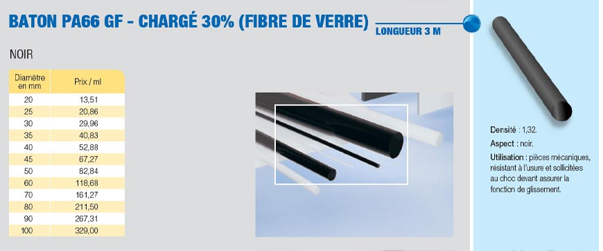 Bâton polyamide PA 6.6-30GF fibre de verre