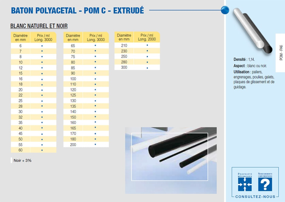 Bâton polyacetal POM C - extrudé