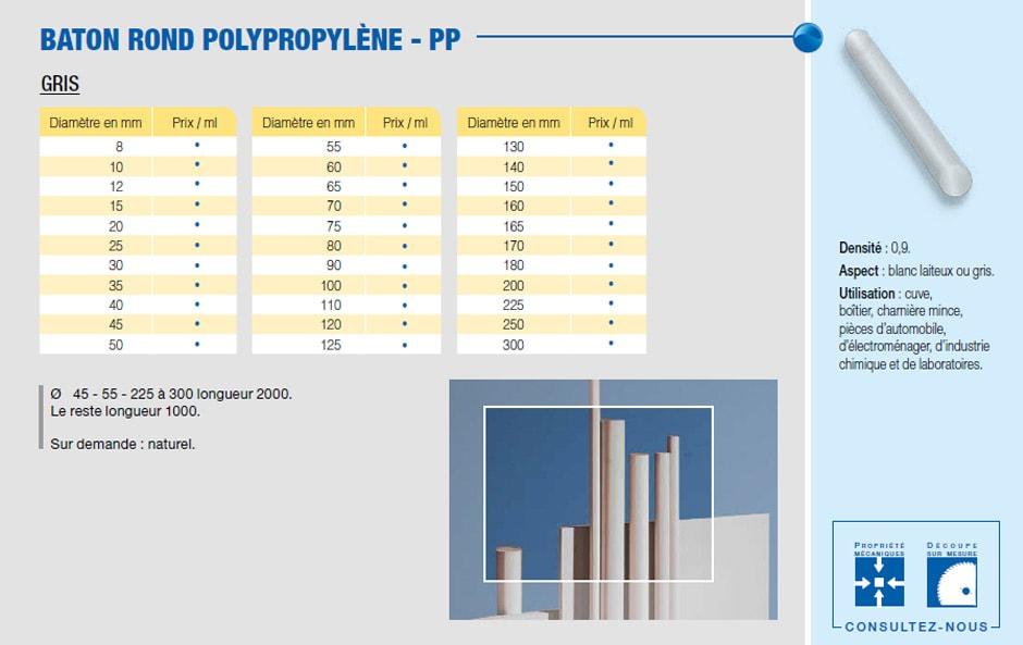 Bâton polypropylène - PP