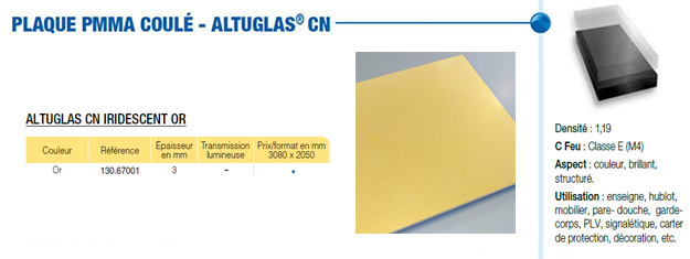Plaque en PMMA metallic standard or et argent brillant CN altuglas