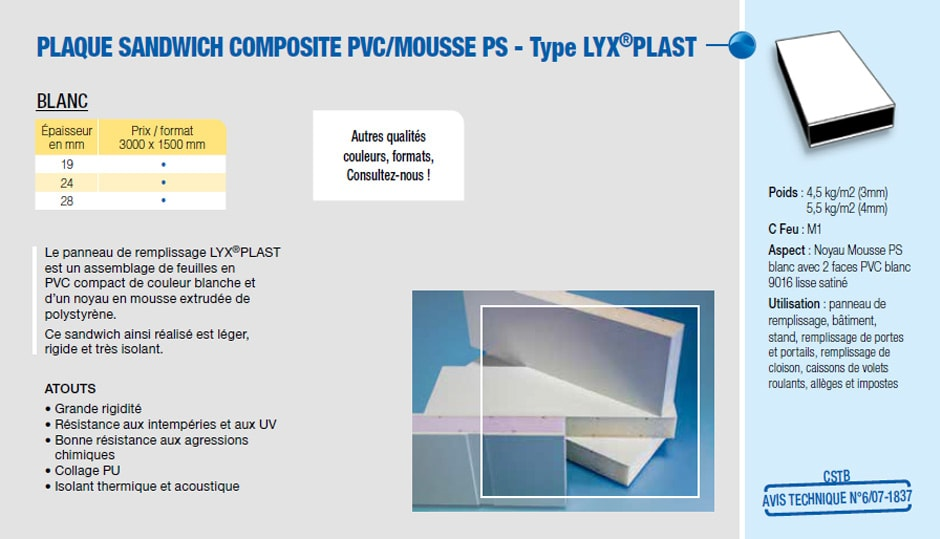 Plaque sandwich composite PVC/mousse PS - Type LYX®PLAST