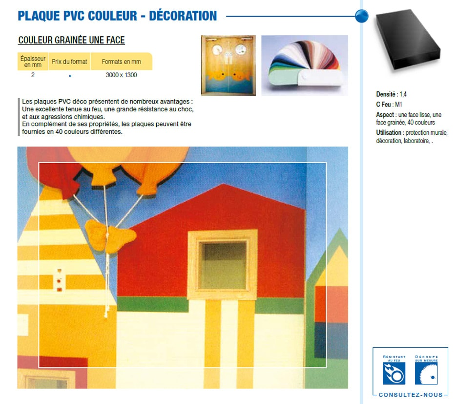Plaque PVC couleur - décoration
