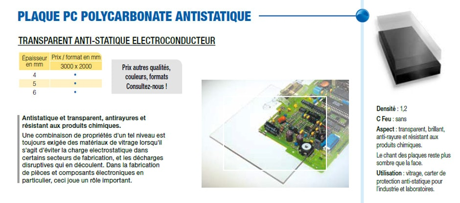 Plaque PC polycarbonate antistatique