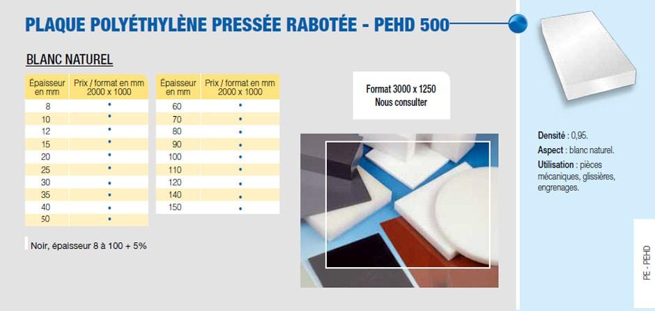 Plaque polyéthylène pressé raboté - PEHD 500