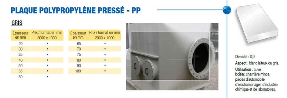 Plaque polypropylène pressé - PP