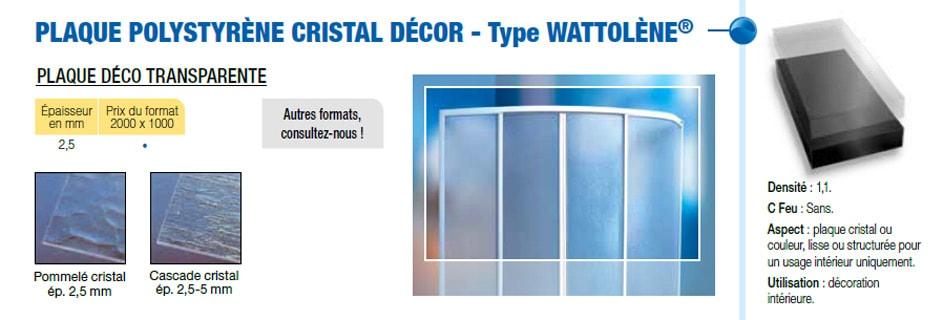 Plaque polystyrène choc rigide crystal décor type Wattolène