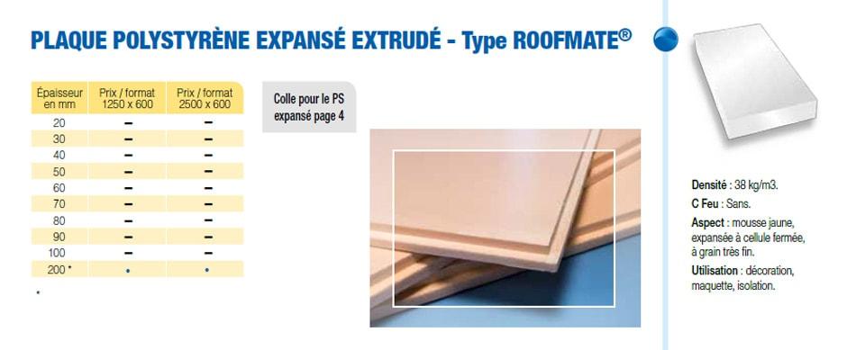 Plaque polystyrène expansé extrudé type Roofmate