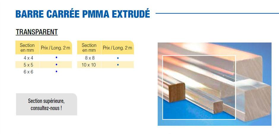 Barre en plastique PMMA extrudé