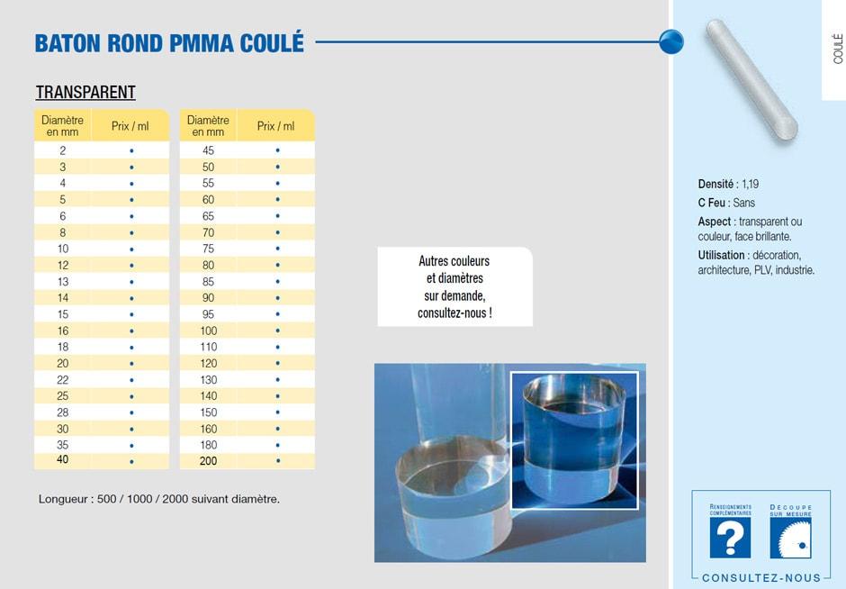 Bâton en plastique PMMA coulé