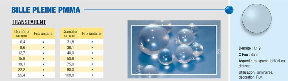 Bille pleine en PMMA transparent