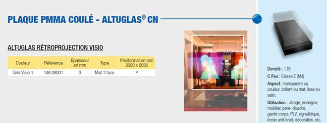Plaque en PMMA rétro-projection visio coulé CN altuglas