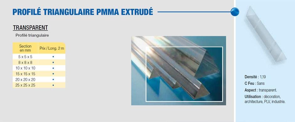 Barre triangulaire (profilé) en plastique PMMA extrudé