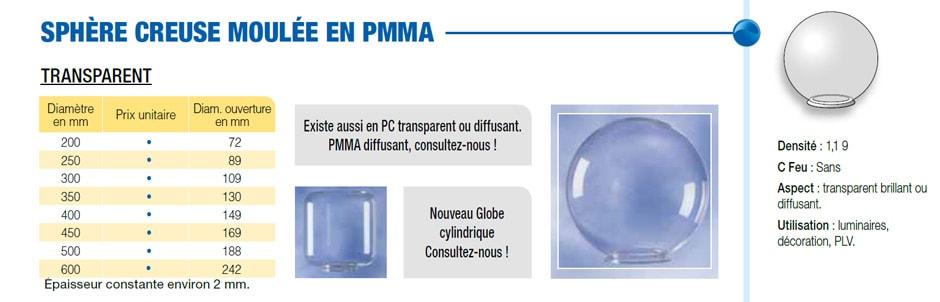 Sphère creuse moulée en PMMA