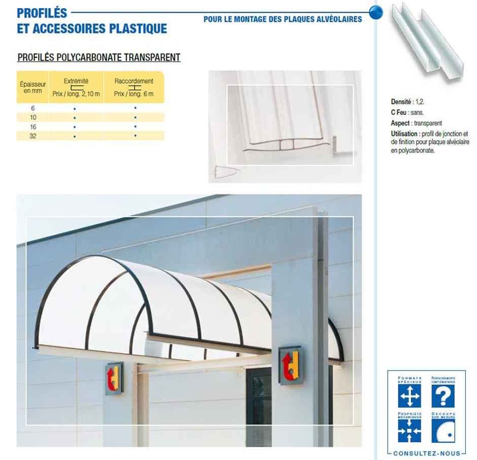 Profilés et accessoires plastique en polycarbonate